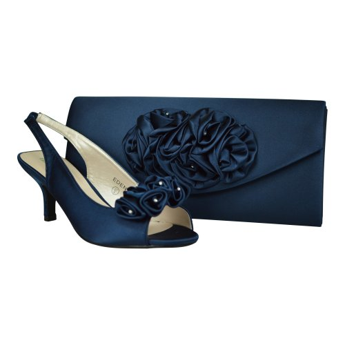 Navy Blue Satin Peep Toe Occasion Shoes & Matching Bag
