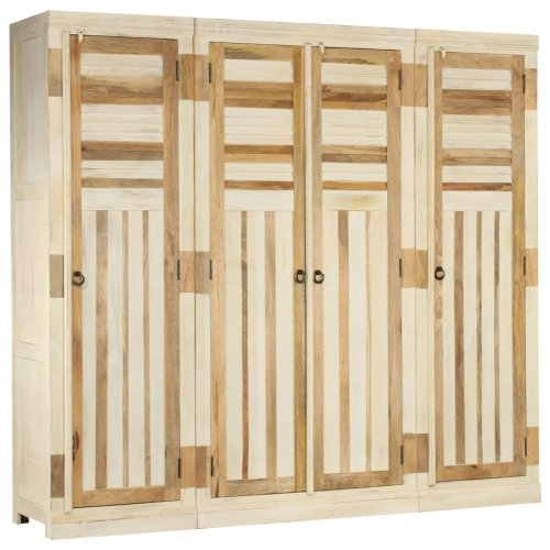 vidaXL Solid Mango Wood Wardrobe Set 3 Piece Bedroom Clothes Storage Organiser