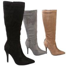 Martina Womens High Stiletto Heel Zip Up Mid Calf Boots