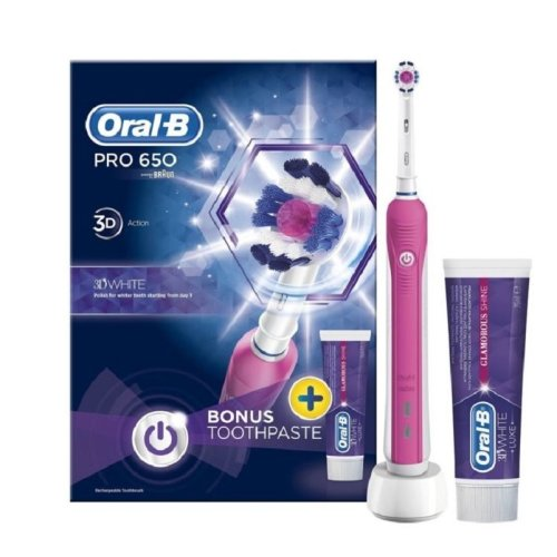 Oral-B Pro 650 3D Action Electric Brush + Paste Pink