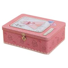 Cute Password Box Desktop Storage/Jewelry Box Safe Lock With Iron Box-Pink