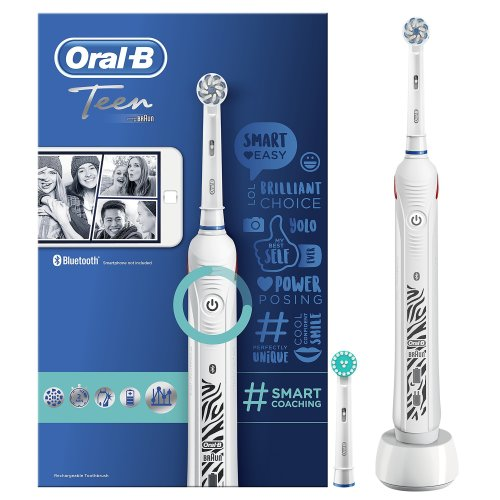 Oral-B Teen White Electric Rechargeable Toothbrush, Powered by Braun