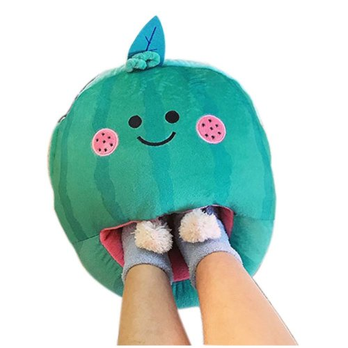 [Strawberry] USB Foot Warmer Heating Pad Slippers Washable For Home/Office Warm Feet Treasure