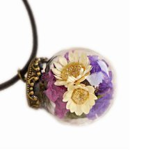 Set of 2 Beautiful Dried Flower Pendant Necklace Sweater Ornaments