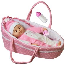 "15"" Baby Doll With Sounds & Carry Cot"