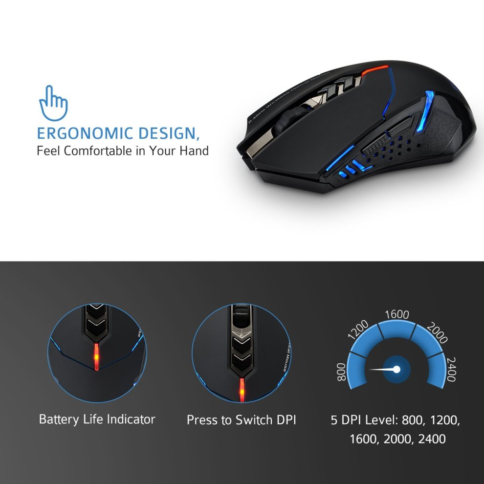 Silent Click, Patuoxun 7 Button 2 4G Wireless Gaming & Office Mouse