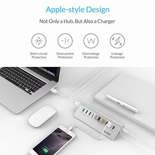 ORICO Premium 10 Port USB 3 0 Hub with 3 3 Ft Cable 7 USB 3 0 Ports 3 Charging Ports for iMac MacBook MacBook Air Mac Mini or Any PC Silver