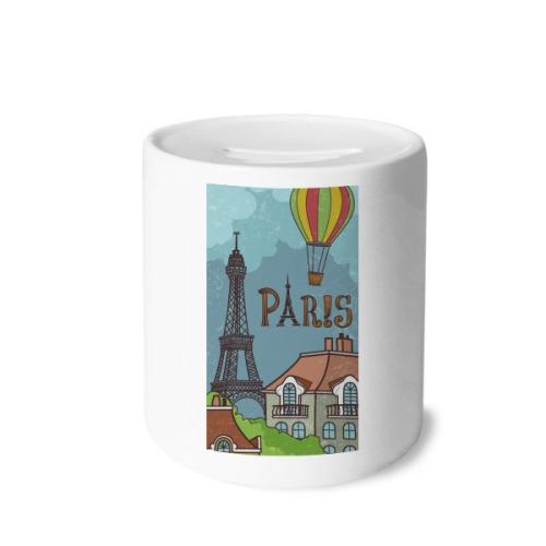 Paris Fire Ballon France Eiffel Tower Money Box Saving Banks Ceramic Coin Case Kids Adults