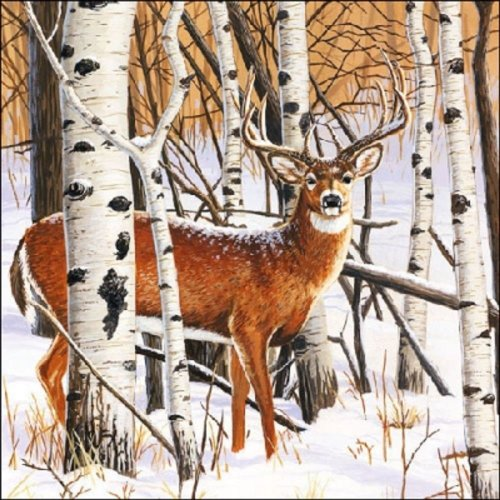 4 x Paper Christmas Napkins - Deer in Forest  - Ideal for Decoupage / Napkin Art