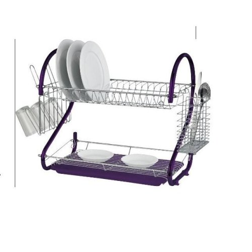 Two Tier Folded Dish Drainer - White/Purple