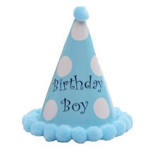 Set of 3 Kids Birthday Hat Plush Party Hat for Kids/Toddlers, Blue Boy