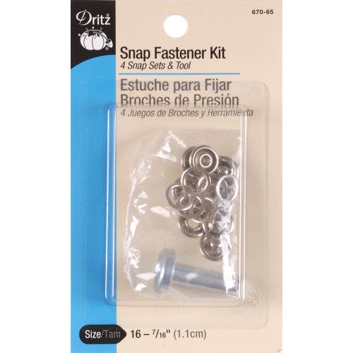 "Dritz Snap Fastener Kit 7/16"" 4/Pkg-Nickel"