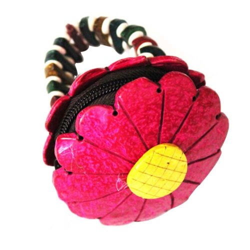 Shape Coin Purse Waterproof Change Purse Pouch Wallet with Zipper Red Flower