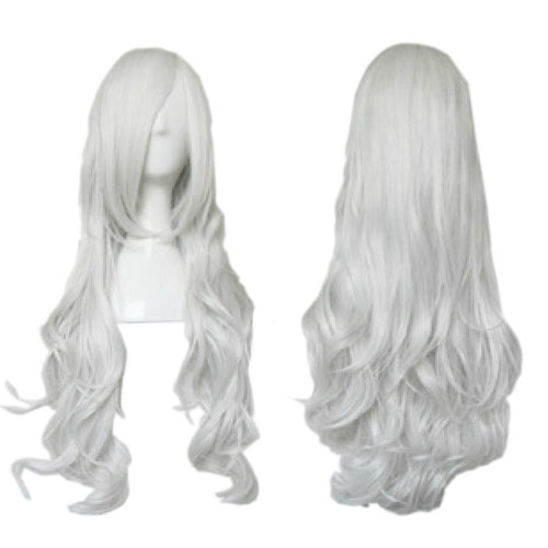 Noble Angel Silver White Beautiful Long Curl Wavy Cosplay Wigs Full Hair Wigs