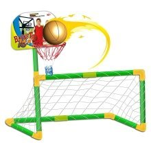 Sports Playset 2 in 1 Basketball and Football Children's SET - Soccer Goal, Basket and Balls Included