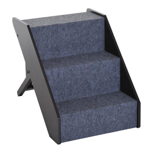 PawHut Pet Cat Dog Step Stairs 3 Steps Folding w/ Adjustable Wooden Ramp Carpet