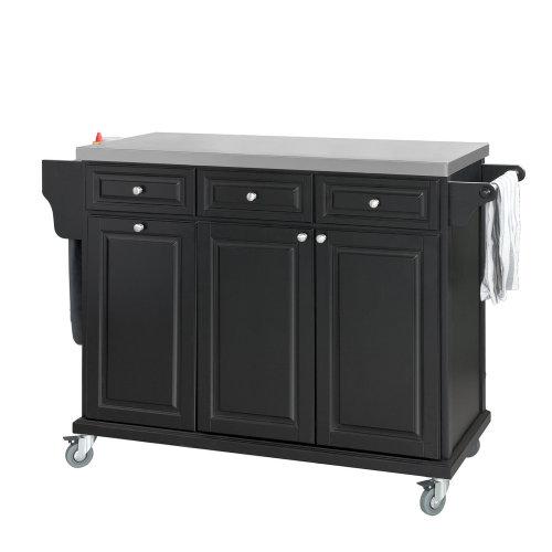 SoBuy® FKW33-SCH, Luxury Kitchen Storage Trolley Kitchen Island with Stainless Steel Worktop