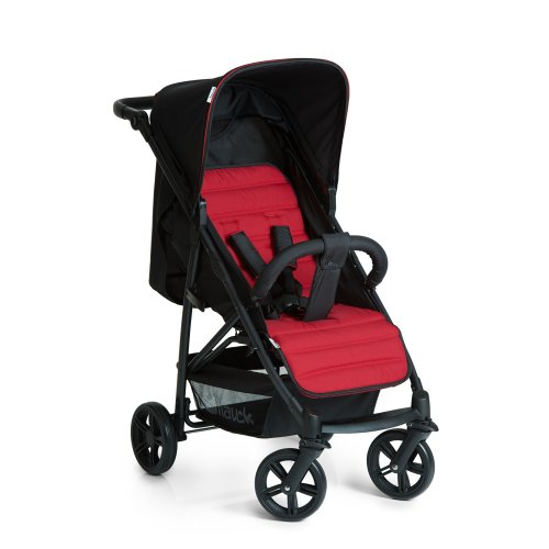 Hauck Rapid 4 Four Wheel Quick Fold Pushchair with Raincover, from Birth to 22 Kg, Black/Red