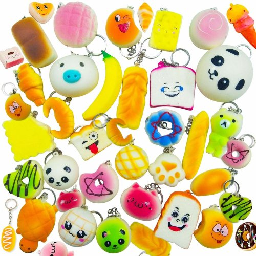 ENCEEN 30Pcs Slow Rising Squishy Toys Soft Squeeze Toy Kawaii Stress Relief Squishies Key Chains Pendants for Boys Girls Adults