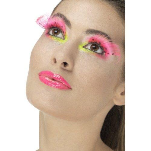 Smiffy's 48091 Neon Pink 80s Polka Dot Eyelashes -  ladies 80s eyelashes adults disco party fancy dress accessory 70s fake