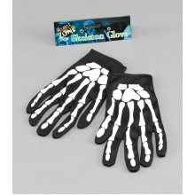 "9"" Halloween Skeleton Gloves -  gloves skeleton fancy dress halloween bone accessory adult 9 FANCY DRESS GLOVES SKELETON BONES HALLOWEEN BLACK WHITE"