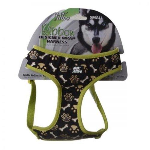 Coastal Pet 6663BPB 19-23 in. Pet Attire Ribbon Brown Paw & Bones Designer Wrap Adjustable Dog Harness, Black