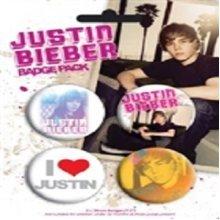 Pack Of 4 Justin Bieber Badge Set - Official Blister Badges -  justin bieber official blister 4 badges pack