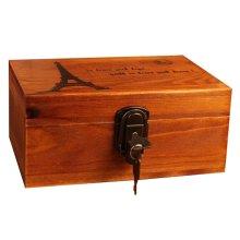 Creative Woody Retro Safe Lock Box Desktop Cosmetics Box Jewelry Box-R/T
