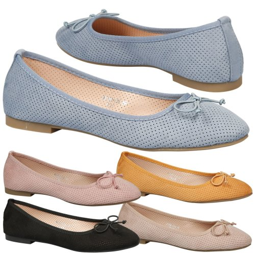Womens Flat Dolly Shoes Ballerinas Ladies Ballet Pumps Bow Size New