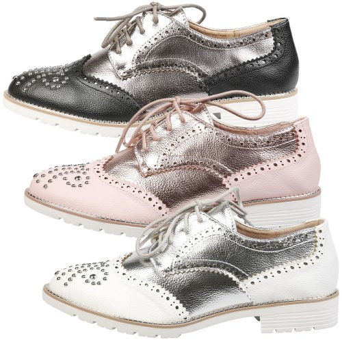 Vashti Womens Flats Low Heels Lace Up Studded Brogues