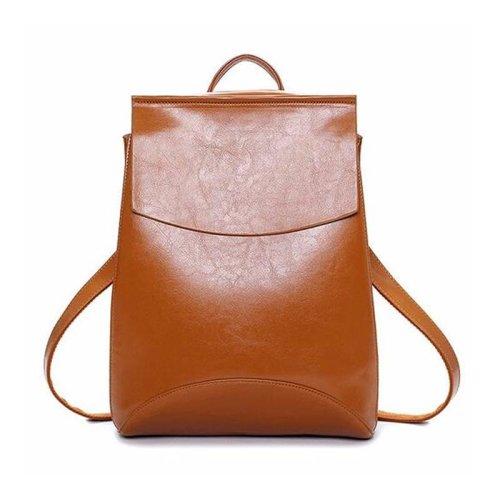 Women Oil PU Leather Simple Big Capacity Simple Backpack Shoulders Bag