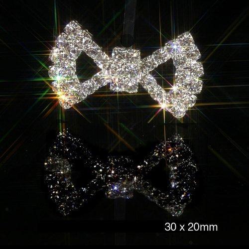 10 x Bow Design Flat Back Rhinestone Crystal Diamante Embellishment 3cm x 2cm