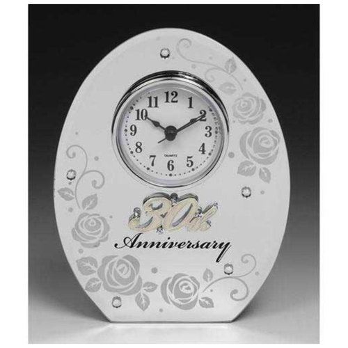 30th Wedding Anniversary Mirror and Clock Gift by Shudehill giftware