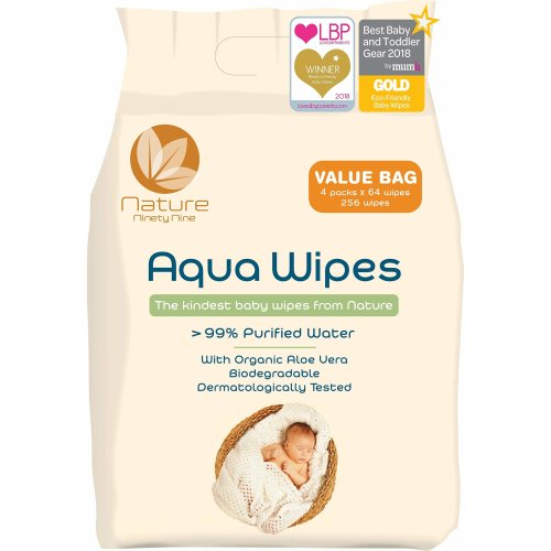 Aqua Wipes Baby Wipes, (Bag of 4 x 64 Wipe Packs (256 Wipes)), 100% Biodegradable, Suitable from Birth, 99.6% Purified Water, AQW64F, Vegan,...