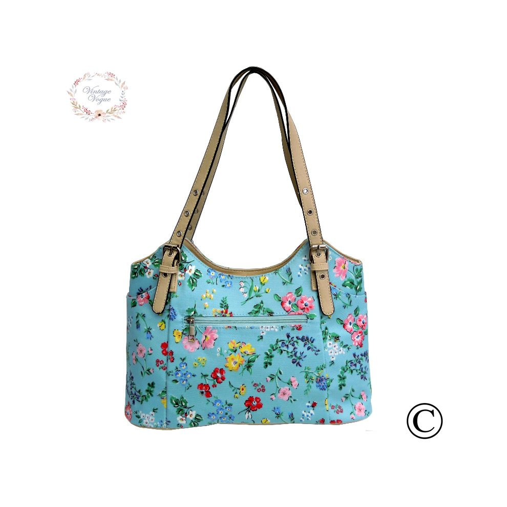 Vintage Vogue Classic Sky Blue Floral Baby Changing Bag On OnBuy
