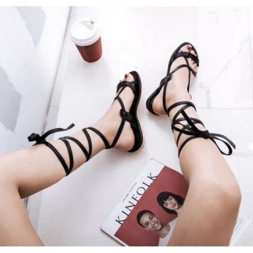 Summer Cross Tie Ankle Straps Lace Up Flip Flops Sandals Flat Heels