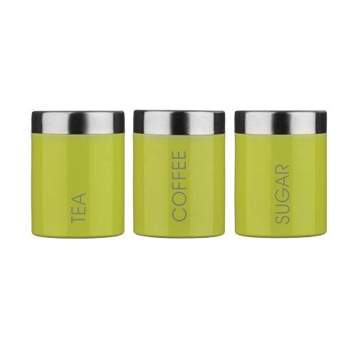 Set Of 3 Tea Coffee Sugar Enamel Canisters - Lime Green