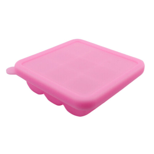 Square Safe And Soft Silicon Ice Cube Tray With Silicon Lid, Rose Red