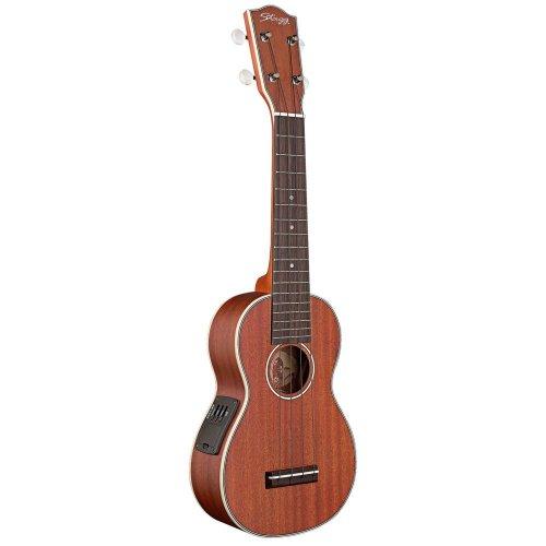 Stagg US80SE Mahogany Electro-Acoustic Soprano Ukulele with Gigbag