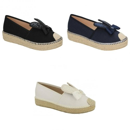 Spot On Womens/Ladies Bunny Ears Rope Aline Slip On Canvas Shoes