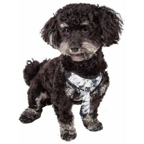 Pet Life HA50BKMD Bonatied Mesh Reversible & Breathable Adjustable Dog Harness with Designer Neck Tie, Black & White - Medium