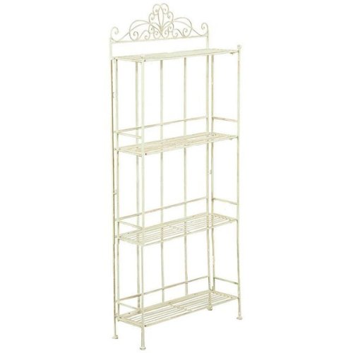 Multipurpose Wrought Iron Made Antiqued White Finish   W51xdp18xh124 Cm Collapsible ?tag?re