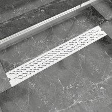 vidaXL Linear Shower Drain Wave 830x140 mm Stainless Steel