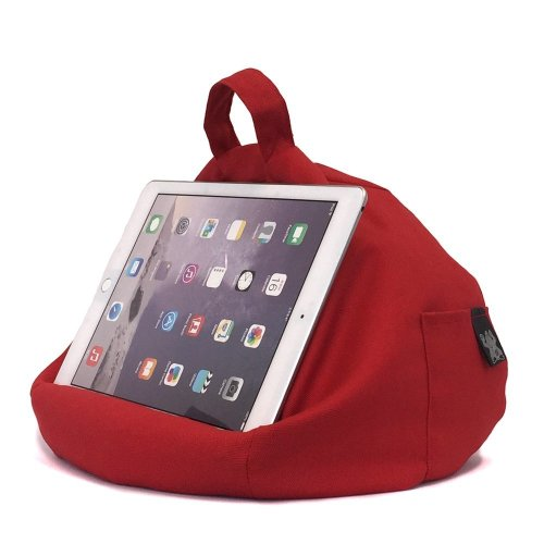 Ibeani Ipad Tablet Stand Bean Bag Cushion Holder For All Devices Any Angle On Any Surface Red