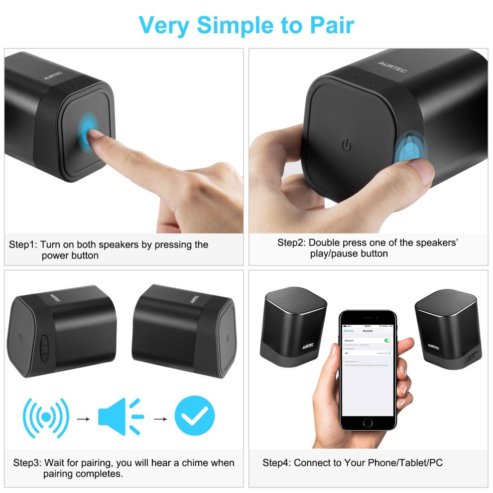 Bluetooth Speakers, AURTEC TWS Stereo Wireless Audio with Strong Bass and  Powerful Volume, Bluetooth 4 2, Handsfree Calling for iPhone, Android,