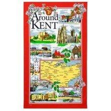 Around Kent Tea Towel Souvenir Gift Map Scenes Places Dover Leeds Castle Red