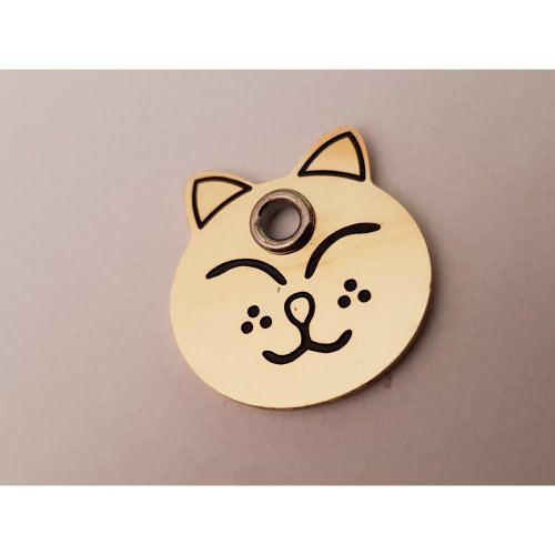 Engraved Brass shaped cat ID tag