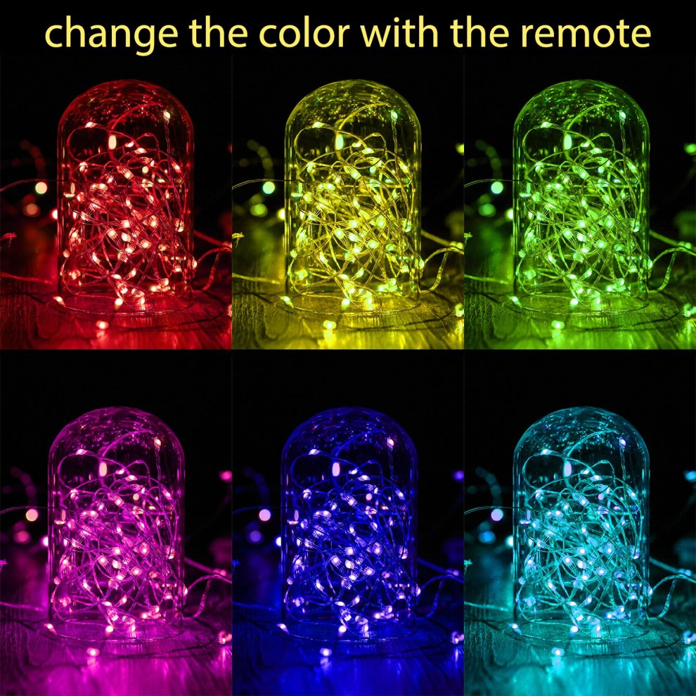 Led String Lights Usb Powered Multi Color Changing String Lights With Remote 100leds Indoor Decorative Silver Wire Lights For Bedroom Patio Outdoor