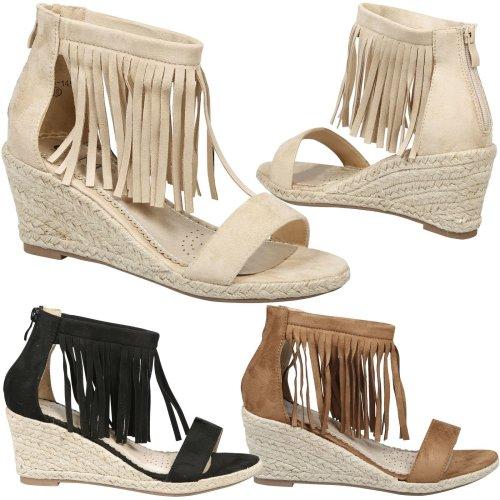 Nadja Ladies Platform Tassel Espadrilles Ankle Strap Summer Wedge Heel Sandals