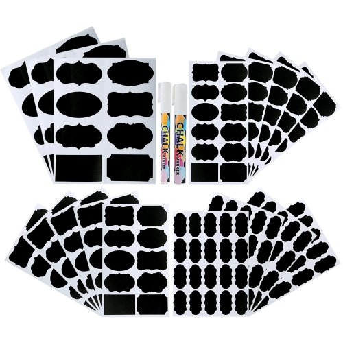 Pllieay 214 Pieces 4 Sizes Chalkboard Labels Waterproof Reusable Erasable Chalkboard Labels Stickers with 2 Pieces Chalk Markers for Decorating...